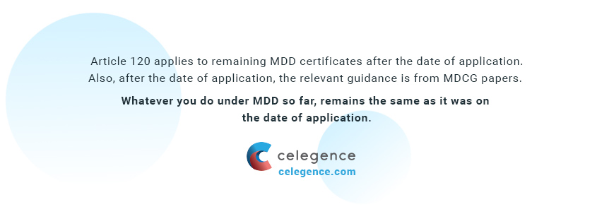 Article 120 of EU MDR - MDD - Celegence