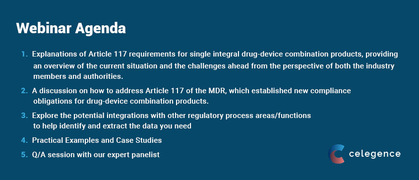 Webinar Combination Products Agenda - Notified Body Opinion MDR Article 117 - Celegence